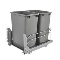 Rev-A-Shelf 53WC-1835SCDM-217 Double 35 Quart Undermount Kitchen Cabinet Pullout Waste Container with Soft Close, Gray 5-9 Gallons