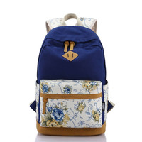 Women's Canvas Navy Floral Travel Backpack Girl Daypack Bookbag for Teen Girls + Free Gift Elephant Ring + Free Shipping