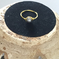Wire-Wrapped Single Pearl Midi Ring