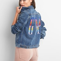 Crazy stripe logo Icon jacket|gap