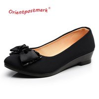 Women Ballet Shoes Women Wedges Shoes for Office Work Oversize Boat Shoes Cloth Sweet Loafers Women's Pregnant Wedges Shoes