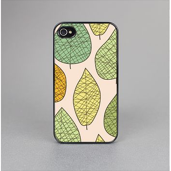 The Abstract Pastel Lined-Leaves Skin-Sert for the Apple iPhone 4-4s Skin-Sert Case