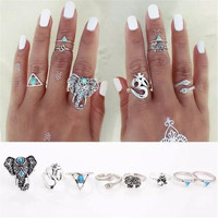 Delicate Hot Fashion vintage silver jewelry rings 8PCS Set Bohemian Elephant Ring Set Steampunk Turquoise Knuckle Rings