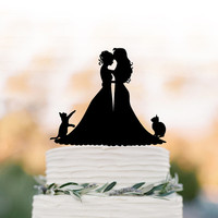 Lesbian wedding cake topper with cat.   same sex wedding Cake Topper, couple silhouette cake topper, mrs and mrs wedding cake top decoration
