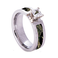 Black Camo On Silver Camouflage Wedding Engagement Ring Titanium and Cubic Zirconia