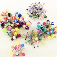 Piercing Kit 90 Pieces Assorted 16G Eyebrow and Labret, 14G Tongue and Ring Belly Ring Body jewelry set
