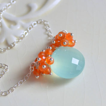 NEW Gemstone Necklace, Aqua Chalcedony Coin Pendant, Bright Orange Carnelian Clusters, Sterling Silver Jewelry, Free Shipping