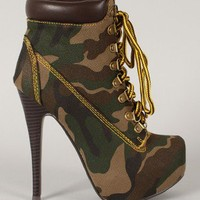 Jojo-01 Camouflage Lace Up Platform Ankle Bootie