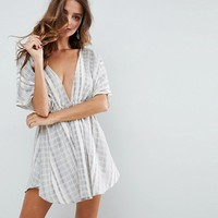 ASOS Beach Plunge Cover Up In Natural Fibre Stripe at asos.com