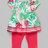 Green Floral Peasant Top & Fuchsia Leggings - Infant   zulily