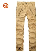 Outdoors Clothing Fashion Casual Work Men Tactical Cargo Pants Men Cotton Pleated Long Trousers Side Zipper
