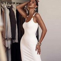 New women's fashion pit solid color metal decorative strap dress