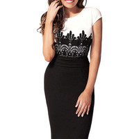 Lace Accent Short Sleeve Bodycon Midi Dress