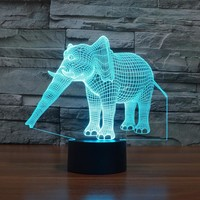 Creative 3D light Elephant Night Light 7 Color Change Acrylic LED Table Lamp USB light Bedroom as Gift for DecorationIY803454