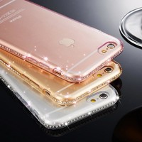 for iphone 7 plus iphone 8 Case Silicon Clear Transparent Diamond Soft Cover Rhinestone Case for iphone 6 6s Plus iphone 5 5s 8
