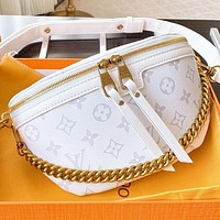 Onewel LV Fashion New Monogram Print Leather Shoulder Bag Handbag Crossbody Bag White