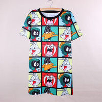 Novelty fashion cartoon print women long tops tees fashion hip hop style summer dresses 2016 new design girls casual t-shirts