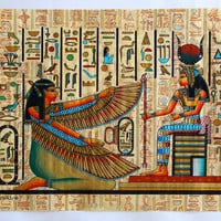 Maat and Isis   Ancient Egyptian Papyrus Painting