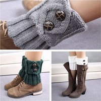 Leisure Fashion Winter Warm Button Crochet Knit Boot Socks Leg Warmers Socks For Women Lady 1 pair