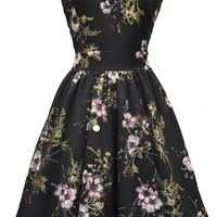Pastel Pink Floral on Black Tea Dress