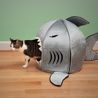 Shark Round House Puppy Bed with Pet Bed Mat