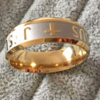 High quality large 316 Titanium Steel 18K silver gold plated Jesus cross band