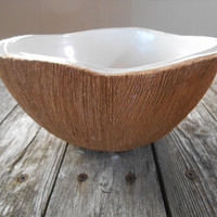 Ed Langbein Coconut Bowl~Punch Bowl~ Large Coconut Bowl~Vintage~ Midcentury~Tiki~Made in Italy