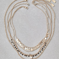 AEO Seed Bead Layering Necklace, Gold