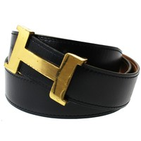 HERMES H Logos Belt Buckle Constance Reversible Black Brown Leather Auth #9558 M