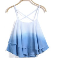 Dip Dye Ombre Chiffon Double Layers Crop Top