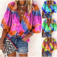 Tie dye printed long sleeve V-neck button women's shirt