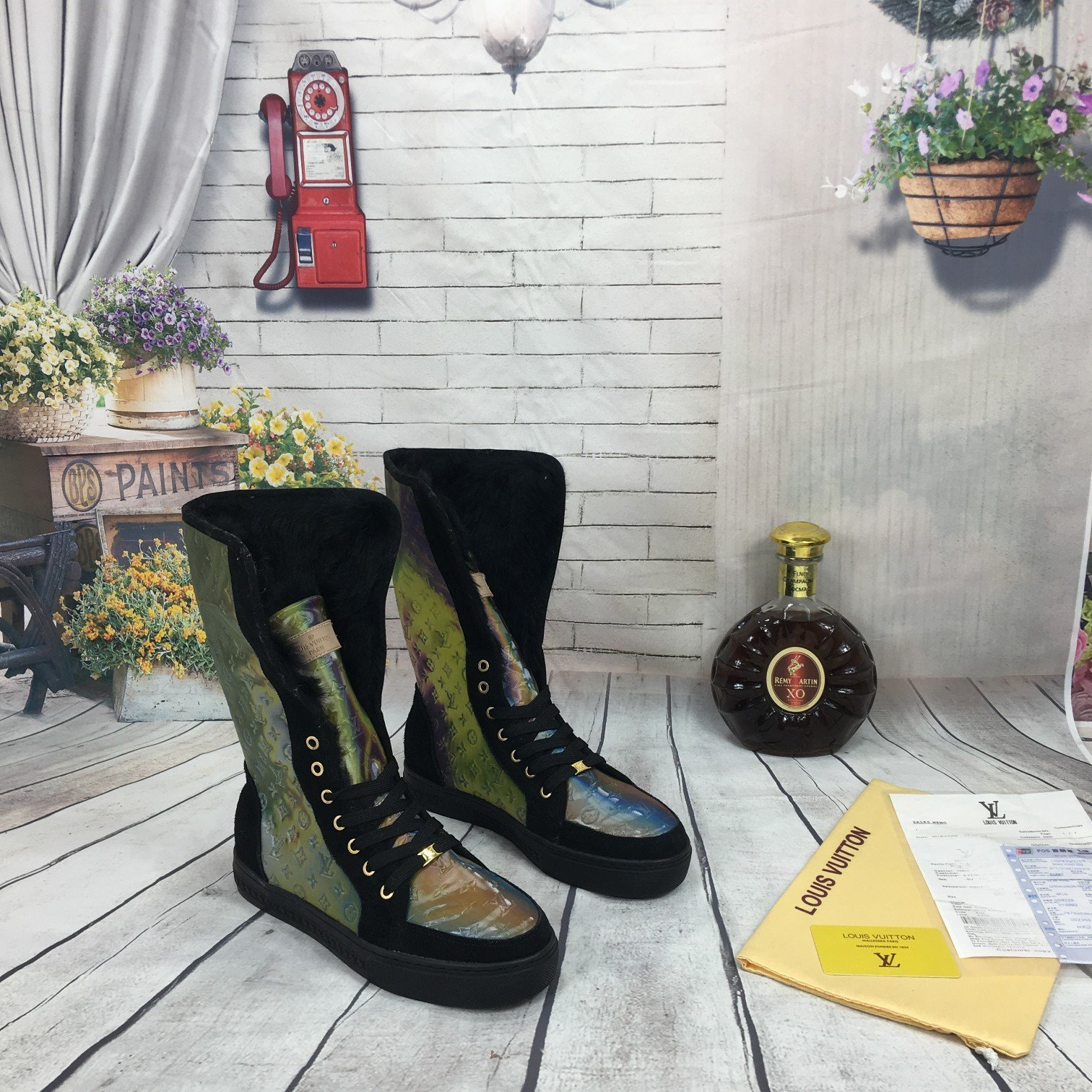 Image of lv louis vuitton trending womens men leather side zip lace up ankle boots shoes high boots 169