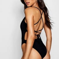 Ria Lace Up Back Detail Bodysuit   Boohoo