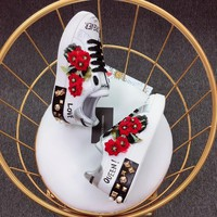 Dolce & Gabbana D&g Printed Calfskin Nappa Portofino Sneakers With Geranium Embroidery - Best Online Sale