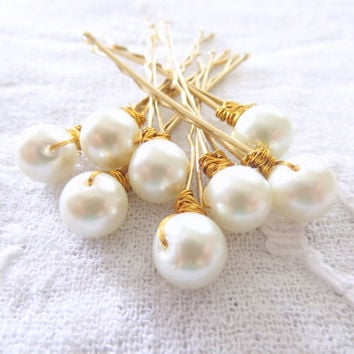 Ivory Pearl Bobby Pins Bridal Hair Accessories, Wedding Hair Pins, Bridesmaid  Bridesmaid Party Gift Flower Girl Set of 8