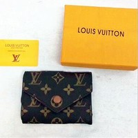 Louis Vuitton LV Monogram Print  Buckle Leather Wallet I