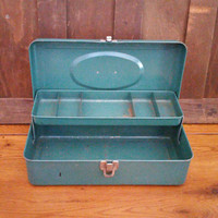 Vintage Green Metal Industrial Tackle Box Tool Box
