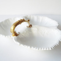 Large Vintage Divided Dish by Aynsley, Fancy Candy Nut Relish Olive Dish, White and Gold Divided Dish, Scrolls and Leaves Dish, Wedding