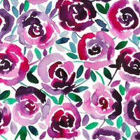 Violet Roses Watercolor Painting