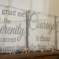 Serenity Prayer Wood Sign God Grant Me The Serenity To Accept The Things I Cannot Change Christian Wall Art Religious Wall Decor Shabby Chic
