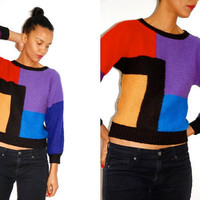 Vtg Color Block 'Mondrian' Cropped Knitted Sweater by LuluTresors