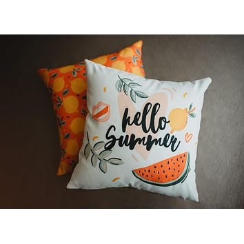 Hello | Summer | Vintage | Watermelon | Pillow Cover | Home Decor | Throw Pillows | Room Decor | Bedroom Decor | Kids Room Decor | Gift Idea
