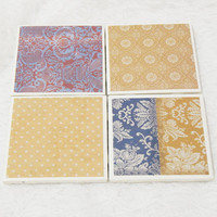Country Tile Coaster Set in Mustard and Navy Floral with Foamed Backs (4) Dishwasher Safe