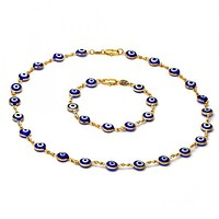 Gold Layered 06.63.0005 Necklace and Bracelet, Greek Eye Design, with Multicolor Opal, Golden Tone