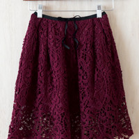 Simply Unforgettable Lace Cocktail Skirt, Burgundy