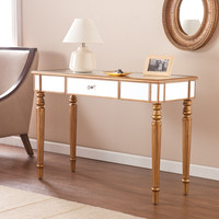 Upton Home Champagne Gold Fontaine Mirrored Sofa/ Console Table   Overstock.com Shopping - The Best Deals on Coffee, Sofa & End Tables