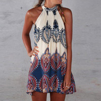 Butterfly Vintage Print Dress Sleeveless One Piece Dress [4919438660]