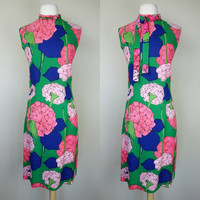 1970s floral print dress, sleeveless shift dress w/ ascot neck tie, wool blend color block frock