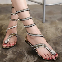 Leather Strappy Roman Gladiator Sandals Flat Shoes Summer flats flip flop
