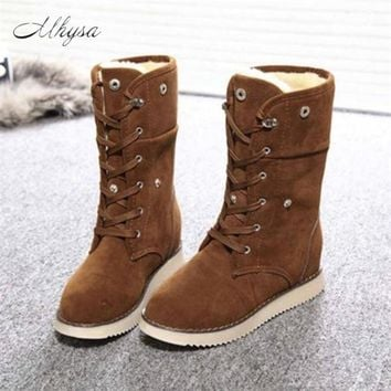 Mhysa 2018 Winter Warm Shoes Up Flat Heel Ankle Snow Boot Women Fleece Lined Casual Boots Fashion Shoes Size 35-40 S728